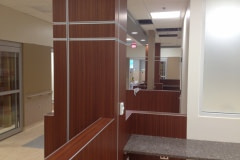 This is a new construction use of Belbien architectural film.  This was a new hospital auxiliary building in western North Carolina. All wood walls, cabinets, ceiling clouds, columns, and cabinets were constructed out of black melamine. Belbien architectural film was then applied to give it its final look.