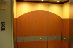 Belbien vinyl woodgrain film was installed in elevator cabs for a client in the Raleigh-Durham area.