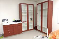 Belbien architectural film installation on a nurse's station and cabinets in an eastern North Carolina hospital (before photo).