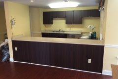 Belbien film installation on kitchen cabinets at a nursing home facility in the Washington D.C. area.