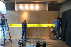 Altyno architectural film completely transformed this hotel lobby. Here is a photo showing the preparation process before the film is applied.