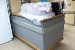 Belbien film installation on a nurse's station at a North Carolina hospital (before photo)