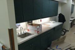 Belbien film installation on a nurse's station at a hospital in the Raleigh-Durham area.