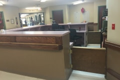 Belbien film installation on a nurse's station at a nursing home in western North Carolina (before photo).