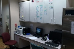 Belbien  film installation on a nurse's station at a hospital in western North Carolina (before photo).