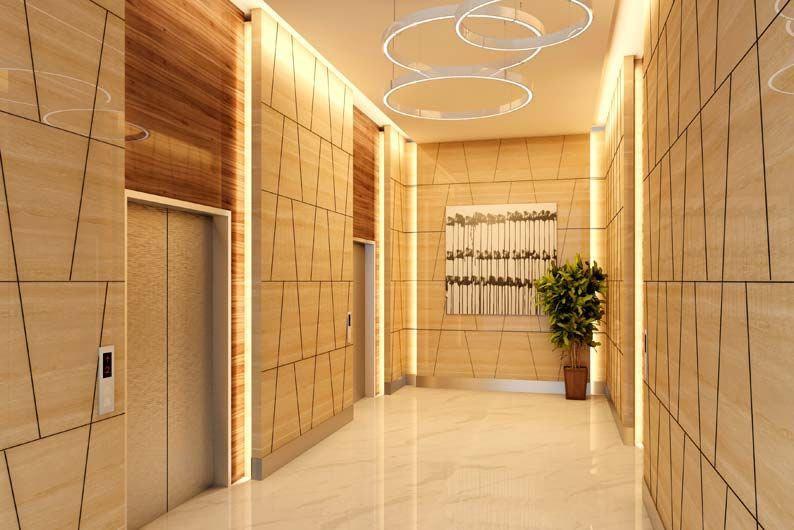 Elevator lobby with Cerarl panels.