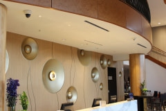 This installation was a new custom wall built for a four-star hotel in the Raleigh-Durham area. Belbien architectural film was applied to the wall, and it was finished with handmade brass bowls and trim.